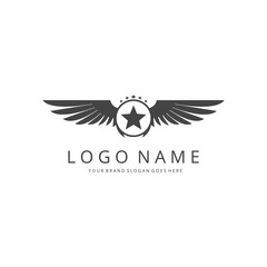 Wings logo template. Easy to edit, change size, color and text.