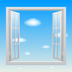 Open white double window on blue sky background