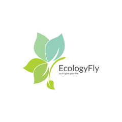 Ecology logo. Butterfly logotype. Easy to edit change size, color and text.