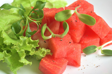 Healthy organic watermelon salad