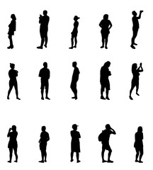 Black and White Silhouettes of People Vector Illustration.