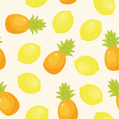 Pineapples and lemons seamless pattern