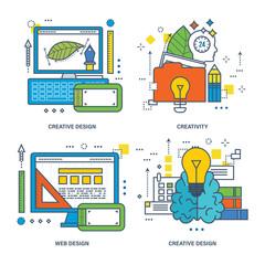 Concept of creative design, brain training, innovation, web