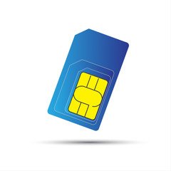 Mobile phone sim card, standard, micro and nano sim card, vector illustration