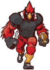 Vector Cartoon Cardinal Football Player Mascot in Uniform