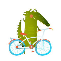 Cartoon green funny crocodile with bicycle