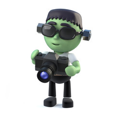 3d Child frankenstein monster with a camera