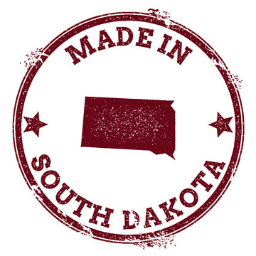 South Dakota vector seal. Vintage USA state map stamp. Grunge rubber stamp with Made in South Dakota text and USA state map, vector illustration.