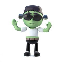 3d Child frankenstein monster is cheering with joy