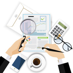 Auditor work desk, accounting paperwork, business research, financial audit, auditing tax process,analysis,  financial research report, project desktop vector, vector illustration