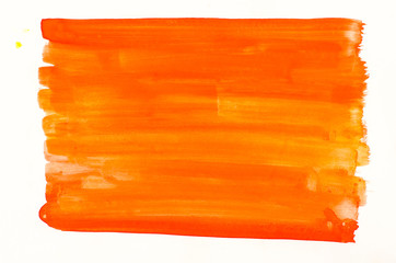 orange watercolor texture painted on white paper background