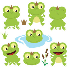 Cute frog vector cartoon illustration