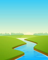 Cartoon River Landscape