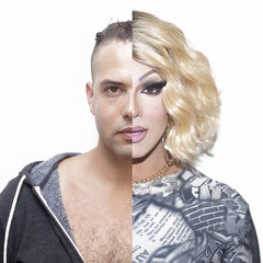 Drag queen before and after make-up