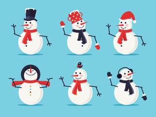 Set of Six Snowmen Isolated on Blue Background. Flat Design Style.