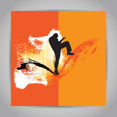 Karate kick. Vector illustration
