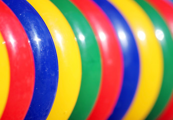 colored plastic rings on the playground for games and children's development.