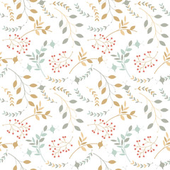 Colorful seamless pattern with different silhouettes of branches