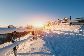 rural winter road covered by snow. natural background