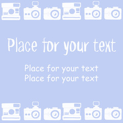 set of vintage cameras and space for text