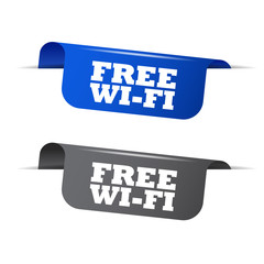 free wifi, blue banner free wifi, vector element free wifi