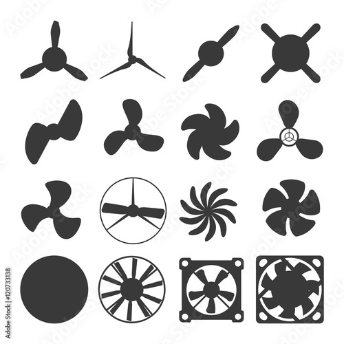 Five Blade Propeller Clip Art : Quot turbines icons propeller fan rotation technology