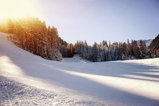Panoramic view of ski resort.