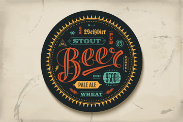 Coaster for beer with hand drawn lettering