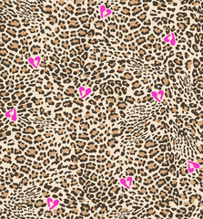 Cute animal spots with hearts - seamless background