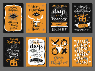 Merry Christmas and Happy New Year calligraphic set of greeting cards