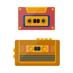 Vector catroon retro tape player and cassette