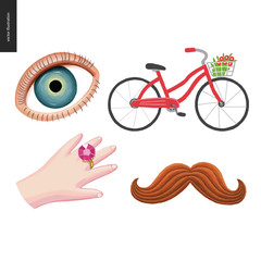 Patches, hand drawn vector stickers set. A set of four cartoon hand drawn elements. An eye, a red bicycle with a basket of flowers, hand with a huge diamond, and mustache
