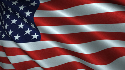 Unites States of America National Flag Flying in the Wind 3D Illustration