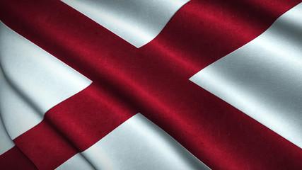 Alabama State Flag Flying in the Wind 3D Illustration
