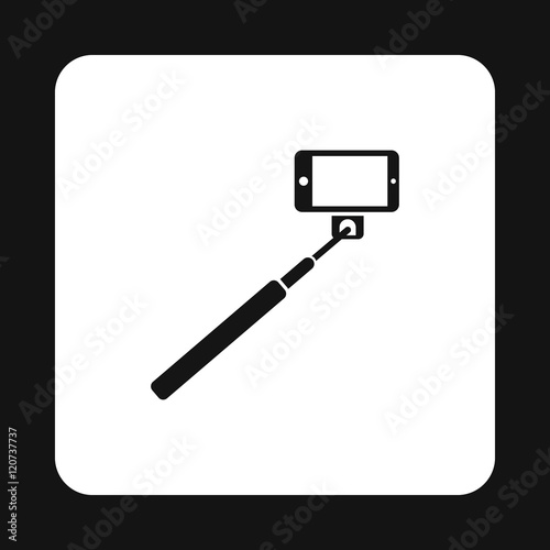 selfie monopod stick icon in simple style on a white background vector. Black Bedroom Furniture Sets. Home Design Ideas
