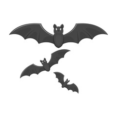 Bats icon in black monochrome style isolated on white background. Fly symbol vector illustration
