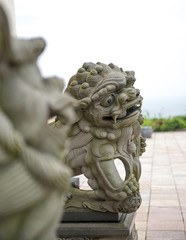 Lion statue stone in front of temple