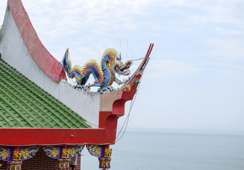 Ornate Chinese Temple detail in the sky.
