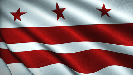 Washington DC Flag Flying in the Wind 3D Illustration