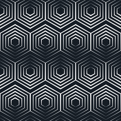 seamless hexagon monochrome pattern, repeating geometric texture, linear structure background