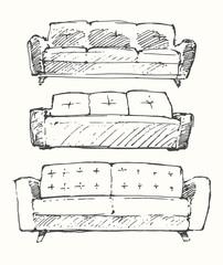 Set of hand drawn sofa vector illustration.