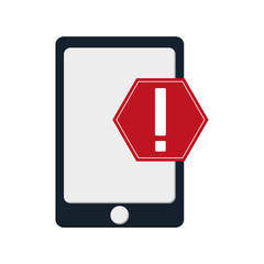 flat design modern cellphone and  warning sign  icon vector illustration