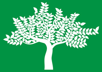 abstract tree, symbol of nature on background green