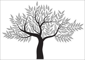 abstract tree on Background White . Vector
