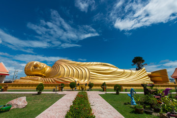 Reclining buddha at Songkhla ,Thailand. Generality in Thailand,This photo is public domain or treasure of Buddhism,no restrict in copy or use. No any trademark or restrict matter in this photo