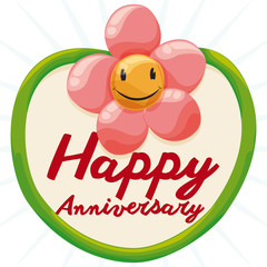 Postcard with Cute Flower Balloon for Anniversary, Vector Illustration