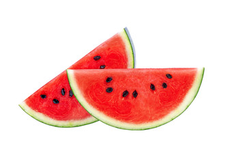 Sliced fresh watermelon isolated on a white background.