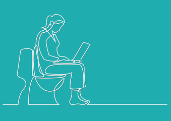 continuous line drawing of woman sitting on toilet seat with com