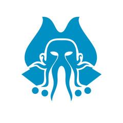 Modern Captain Octopus Logo Image Vector Icon