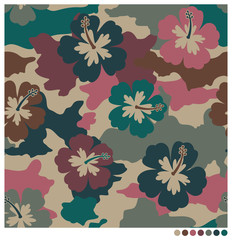 Hibiscus camouflage seamless vector pattern